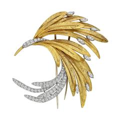 French Gold Diamond Platinum Bird Brooch