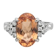 Oval Orange Topaz Diamond Platinum Ring