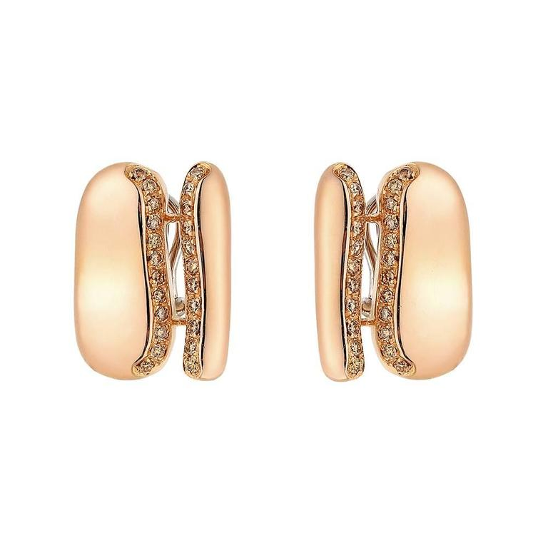Antonini Brown Diamond Rose Gold Geometric Earrings
