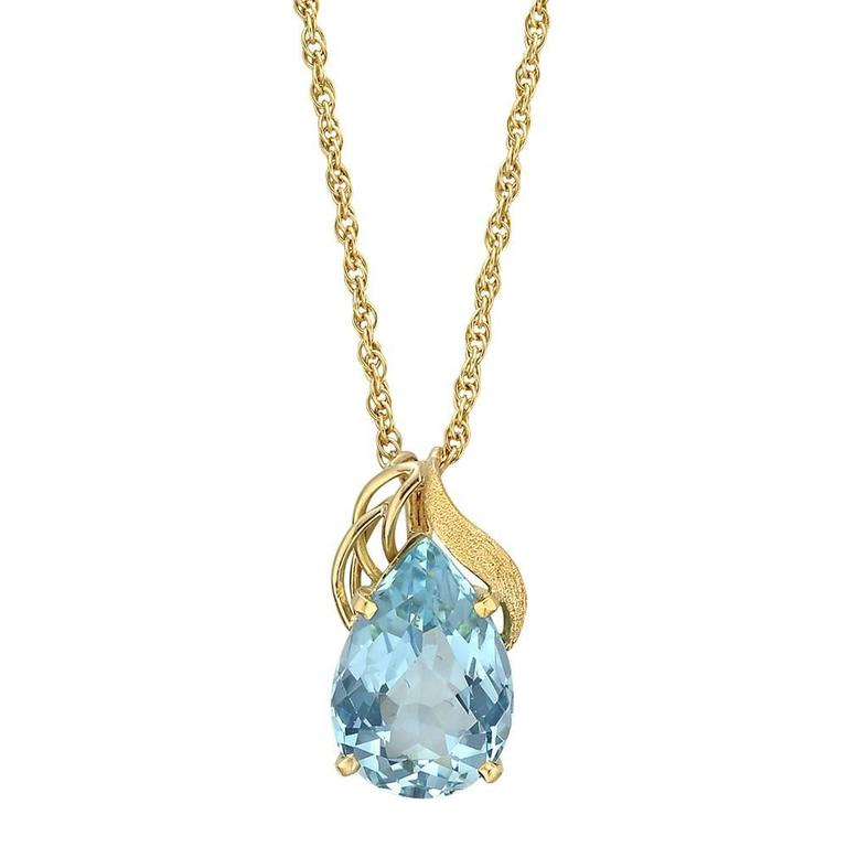 Aquamarine Gold Pendant Necklace