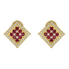 Ruby Diamond Yellow Gold Square Earclips