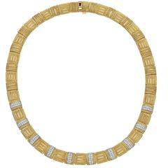Roberto Coin Diamond Yellow Gold Collar Necklace