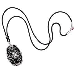 Ivanka Trump Black Onyx Diamond White Gold Noor Pendant Necklace
