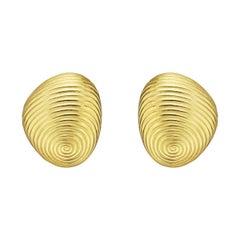 "Angela Cummings Yellow Gold ""Thumbprint"" Earrings"