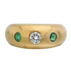 Cartier Yellow Gold Daphne Diamond and Emerald Dome Ring