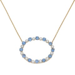 Yellow Gold Montana Sapphire and Pearl Necklace Pendant