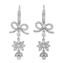 Vera Wang White Gold Victorian Style Diamond Ribbon Bow Dangle Earrings