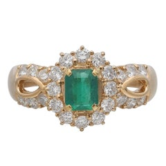 Vintage Yellow Gold Emerald and Diamond Cocktail Ring
