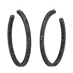 Yossi Harari Oxidized Gilver Pave Sapphire Lilah Hoop Earrings