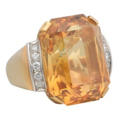 35.43 Carat Citrine and Diamond Yellow Gold Cocktail Ring