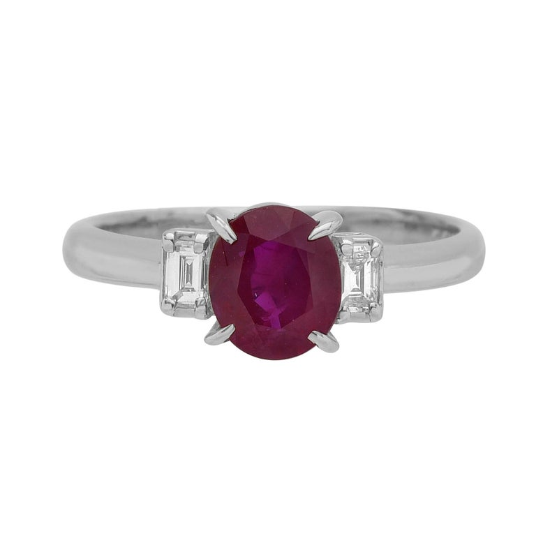Ruby and Diamond Platinum Three-Stone Ring For Sale