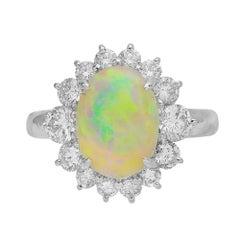 2.40 Carat Opal and Diamond Halo Platinum Ring