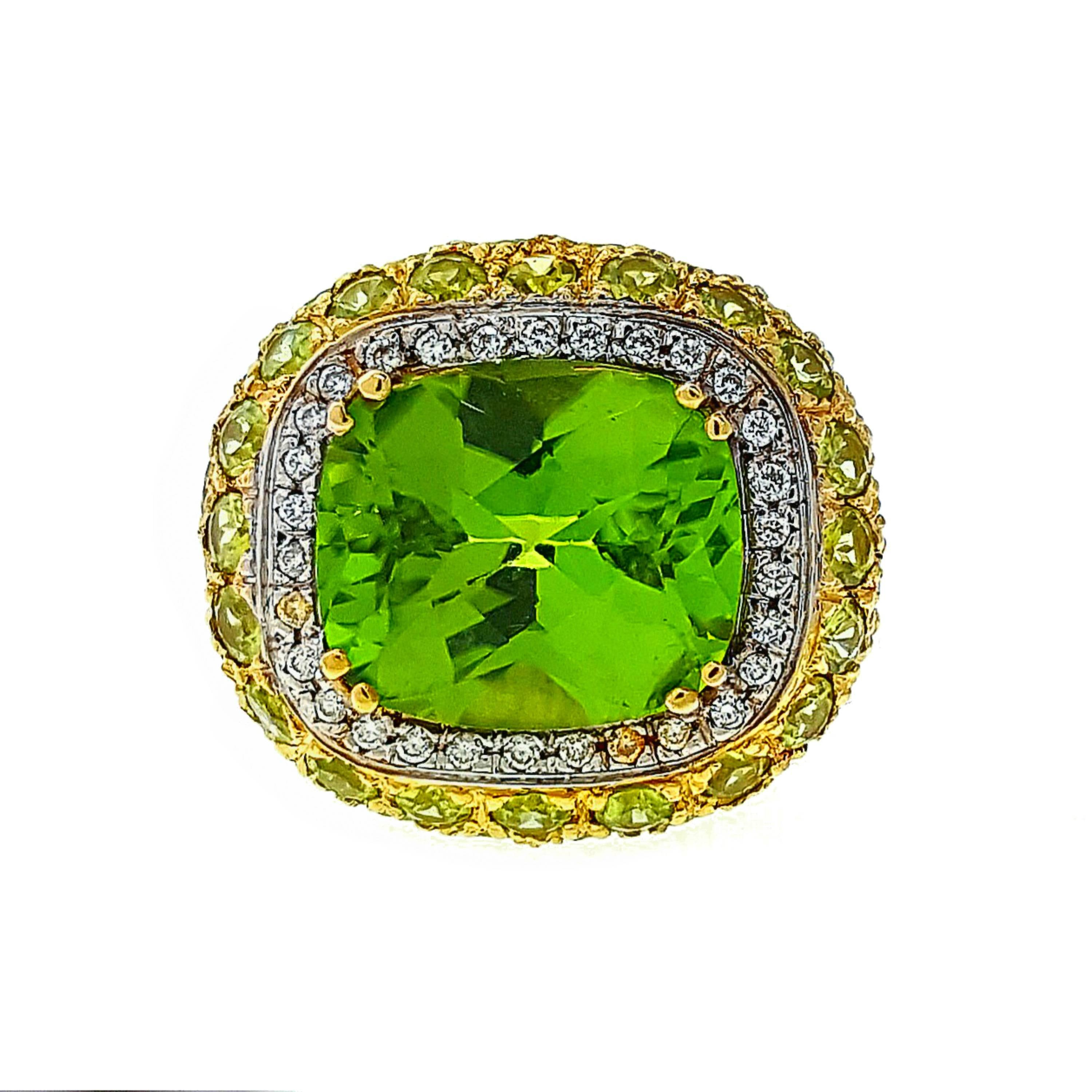 Yellow Gold Pave Peridot and Diamond Cocktail Ring