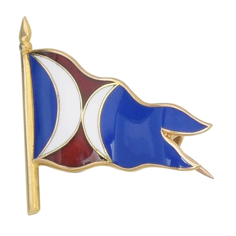 Caldwell Multicolored Enamel Gold Flag Pin For Sale