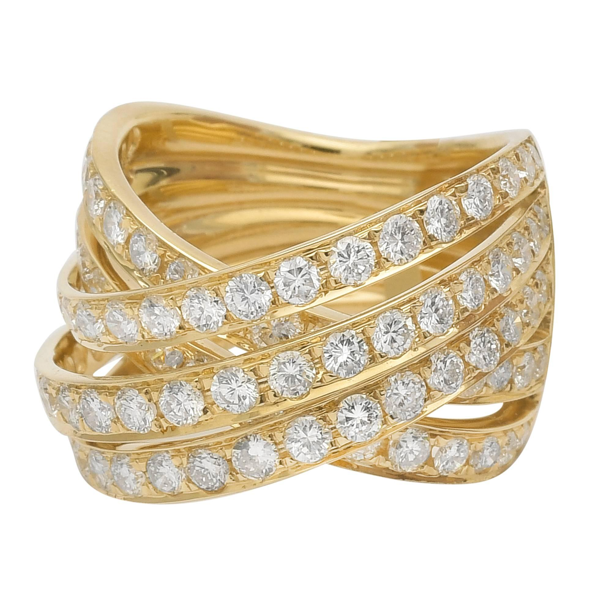 Odelia Yellow Gold Diamond CrissCross Band Ring at 1stdibs