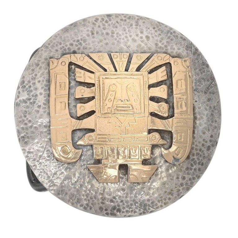 Large Silver Gold Native American Belt Buckle