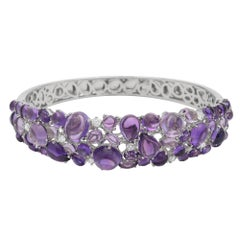 "Roberto Coin ""Shanghai"" White Gold Amethyst Bangle Bracelet"