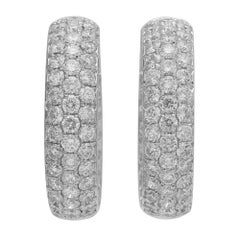 Wide 18 Karat White Gold Pave Diamond Inside Out Hoop Earrings