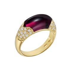 Bulgari Rhodolite Garnet Diamond Ring