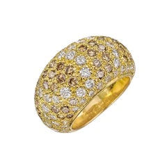 18 Karat Yellow Gold Cartier White and Brown Diamond Dome Sauvage Ring