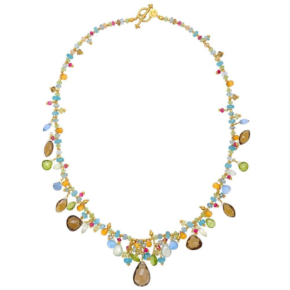 gibson multicolored gemstone bead necklace for sale