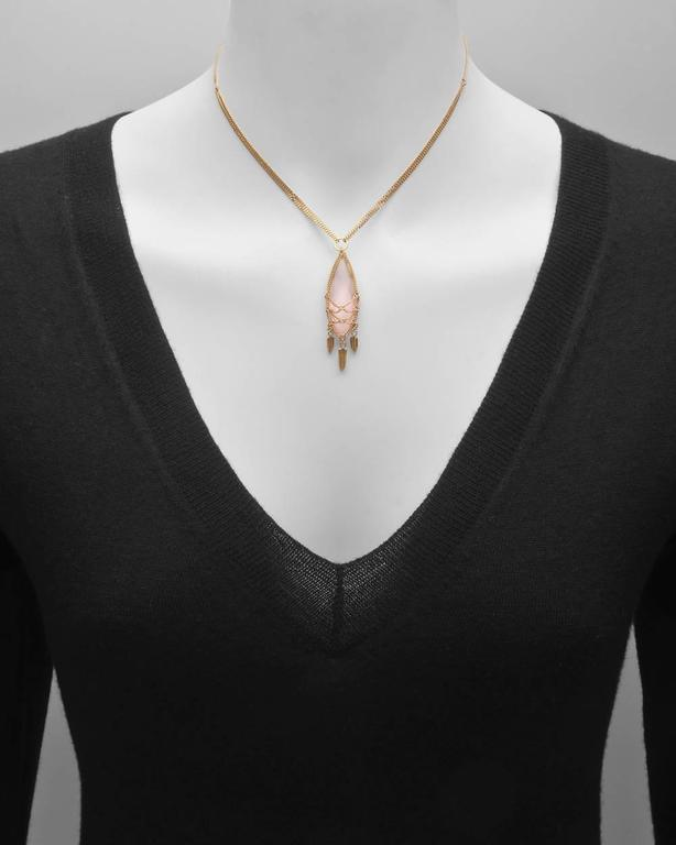 Anthony Nak Rose Quartz Gold Pendant Necklace 2