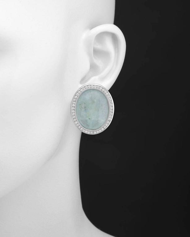 Large Cabochon Aquamarine Diamond Gold Earrings 2