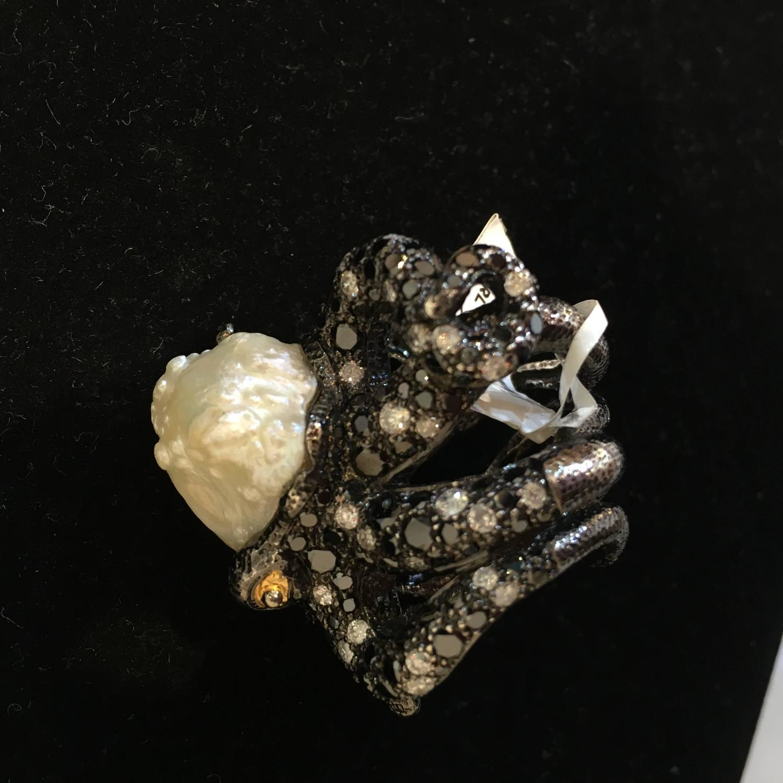 lotus arts de vivre gem set blackened silver octopus ring