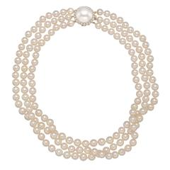 3-Strand Pearl Necklace with Mabe Pearl and Diamond Clasp