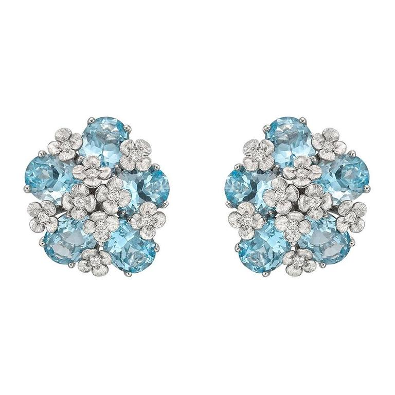 Bielka Blue Topaz Diamond Gold Monet Earclips 2