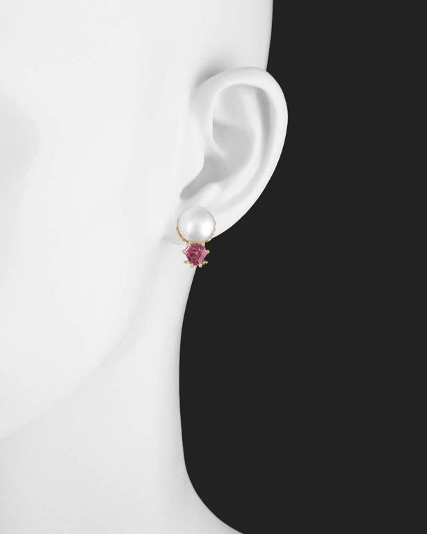 Button Pearl and Pink Tourmaline Stud Earrings 2