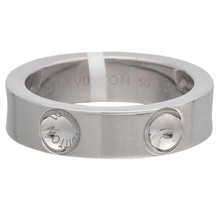 Louis Vuitton White Gold Empreinte Band Ring