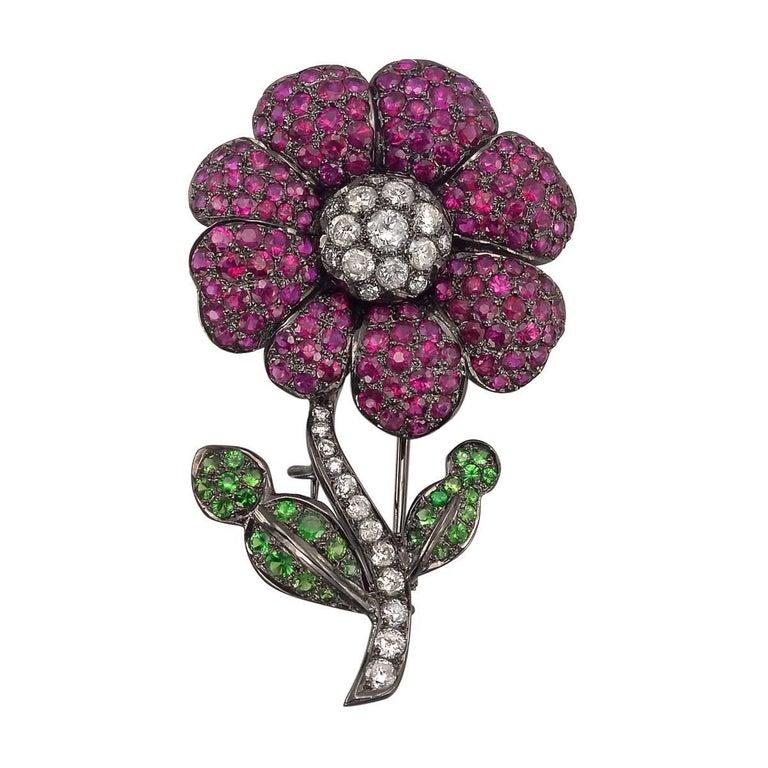 Ruby Tsavorite Garnet Flower Pin