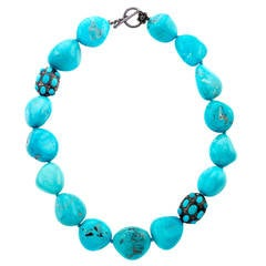 Natural Sleeping Beauty Turquoise Bead Necklace