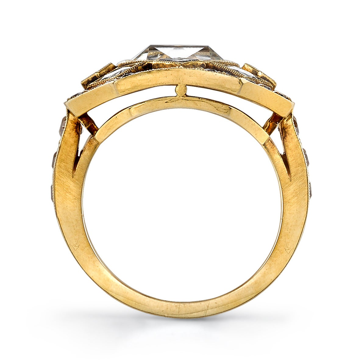 cut asscher gold statement ring at 1stdibs