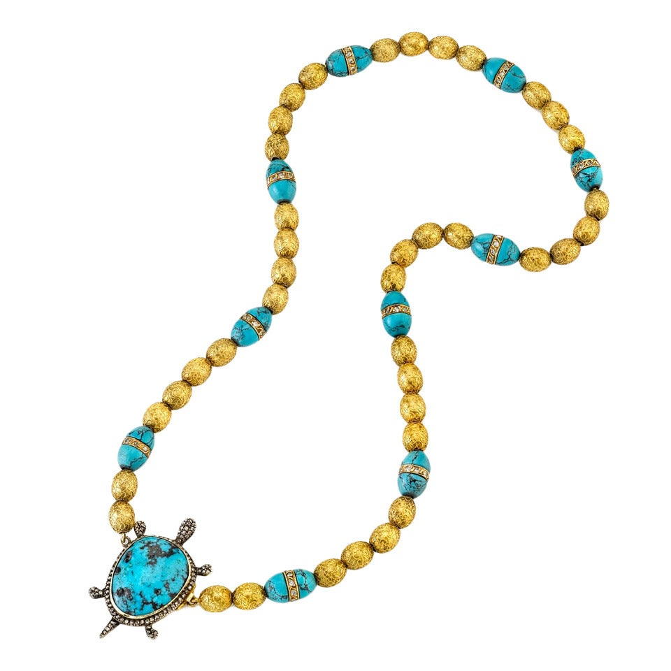 victorian turquoise gold turtle necklace at 1stdibs