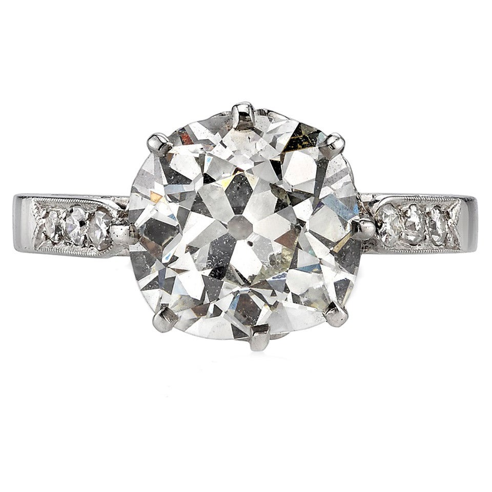 3 56 Carat Cushion Cut Diamond Solitaire Platinum Engagement Ring at 1stdibs