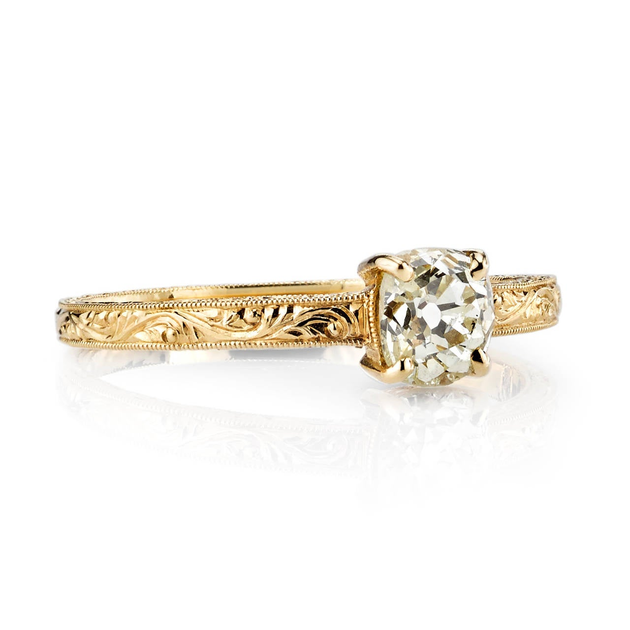 Edwardian Style Cushion Cut Diamond Engagement Ring For Sale at 1stdibs