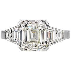 Stunning 4.65 Carat Asscher Cut GIA Cert Diamond Engagement Ring