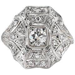 Art Deco Diamond Gold Statement Ring circa 1920