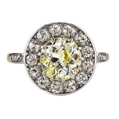 Yellow Diamond Gold Platinum Cluster Engagement Ring