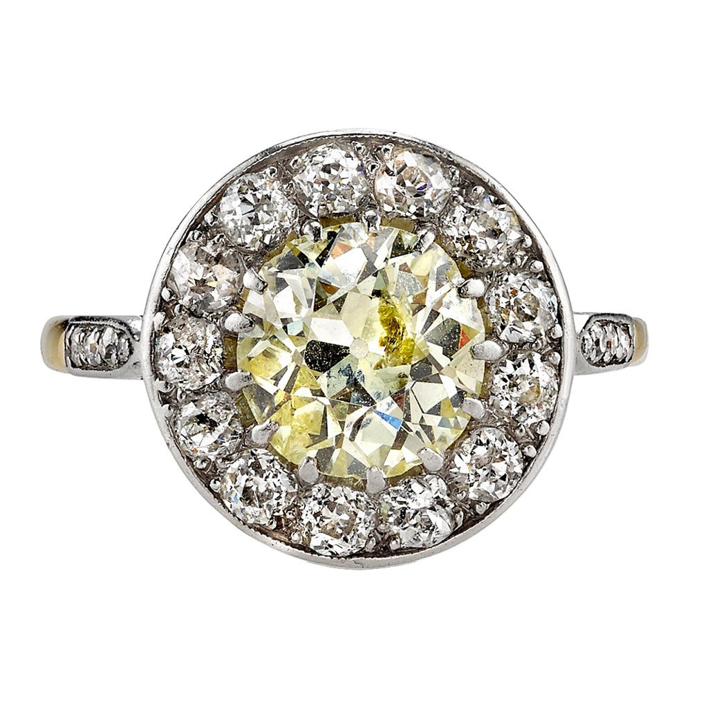 Yellow Gold Diamond Platinum: Yellow Diamond Gold Platinum Cluster Engagement Ring For