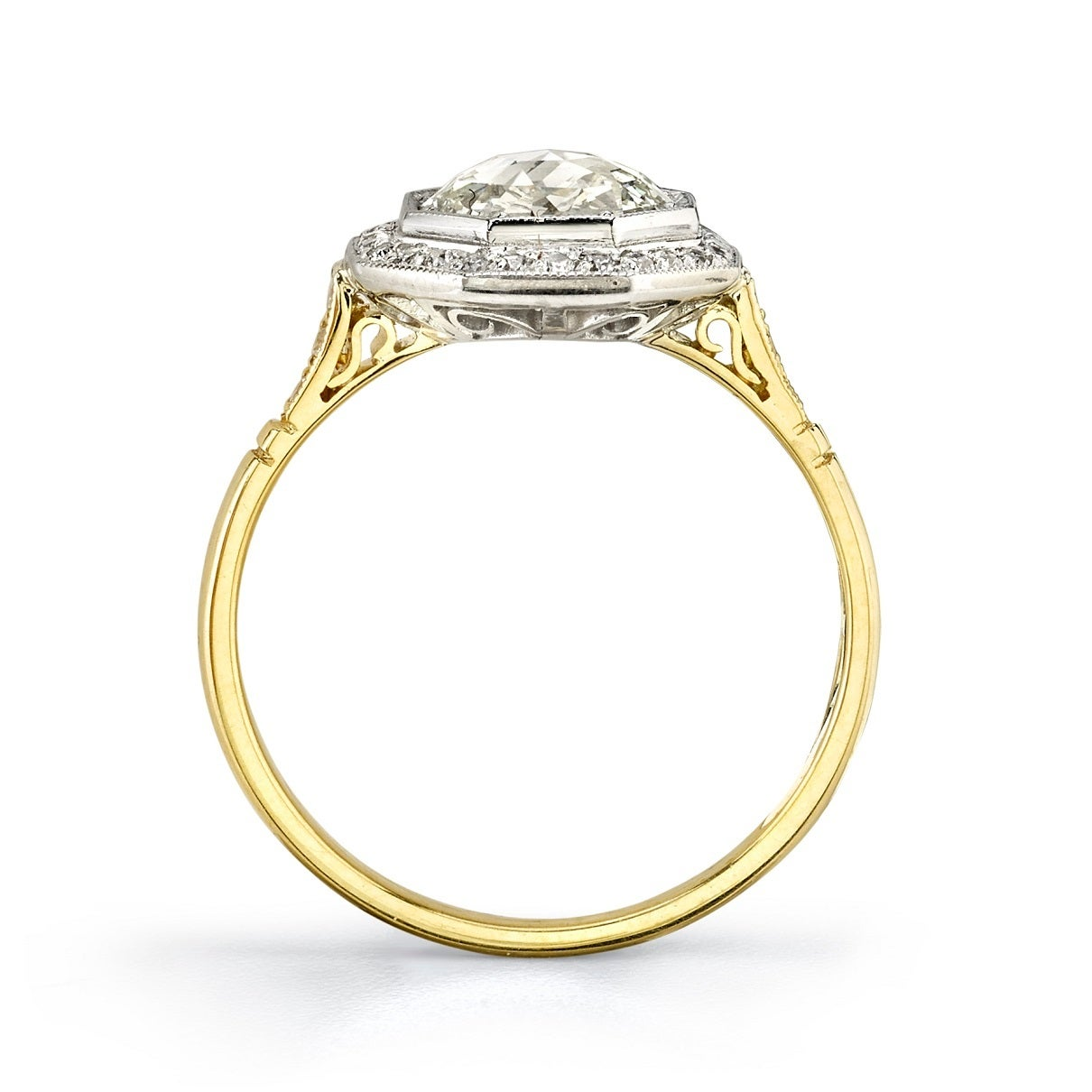beautiful cut two color gold engagement ring
