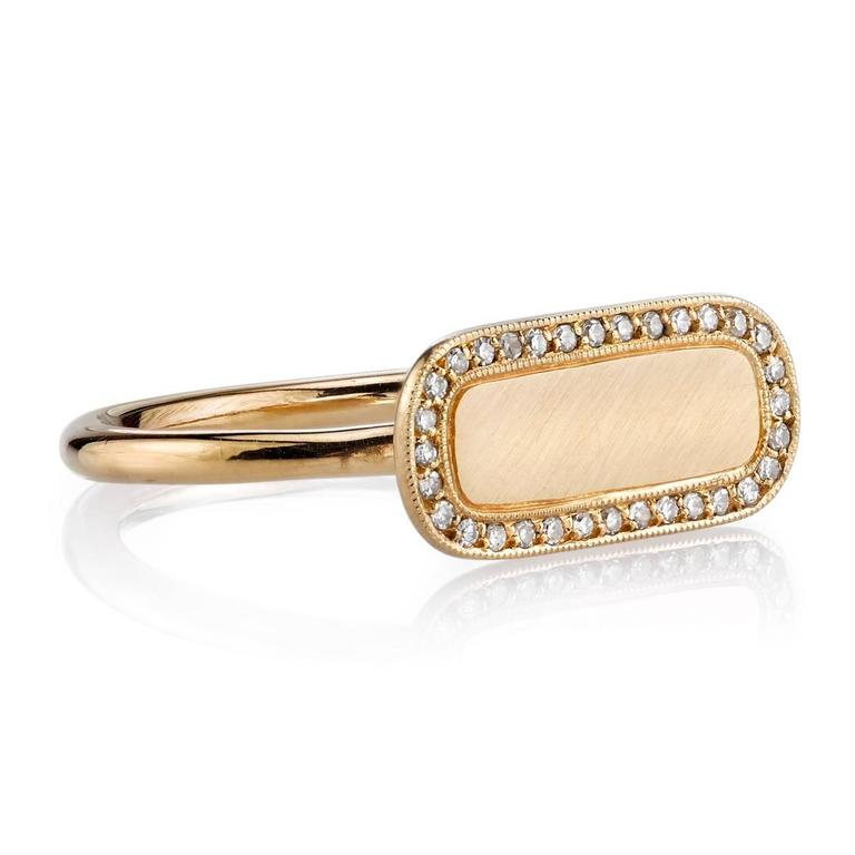 Vintage inspired yellow gold signet ring with 0.10ctw Single cut diamond frame. A modern take on the classic signet ring. Make it personal! Milo ring includes engraving of up to three letter, please call to specify.