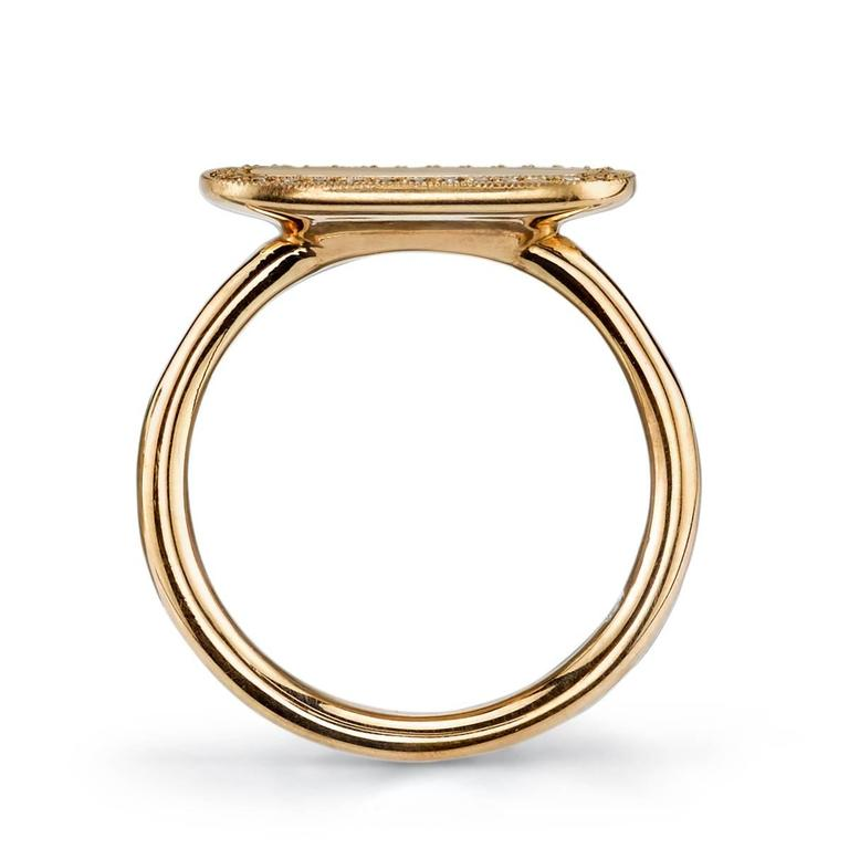 Diamond Gold Surround Modern Signet Ring  In As new Condition For Sale In Los Angeles, CA