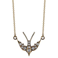 Handcrafted Gold Swallow Pendant Necklace with 0.30ctw Old European Cut Diamonds