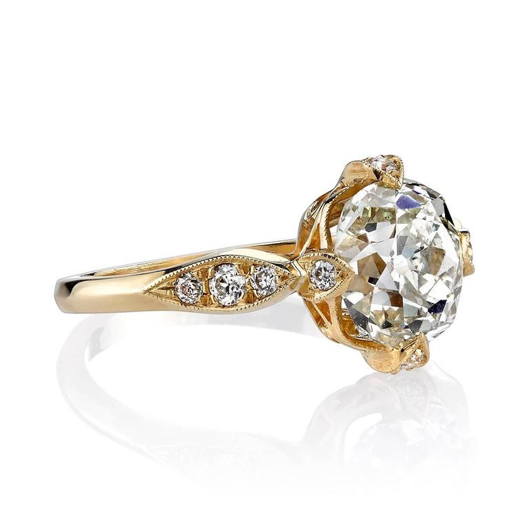 2.32 Carat Cushion Cut Diamond Gold Engagement Ring  2