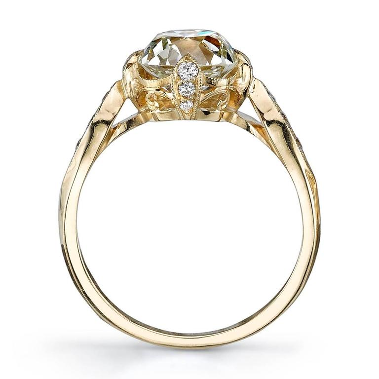 2.32 Carat Cushion Cut Diamond Gold Engagement Ring  3