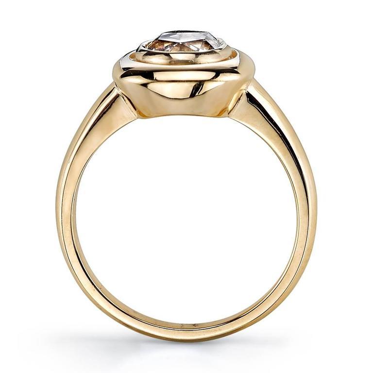 1.10 Carat Oval Rose Cut Diamond Gold Engagement Ring 3