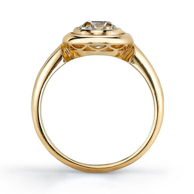 Handcrafted Luca Old European Cut Diamond Ring by Single Stone In New Condition For Sale In Los Angeles, CA